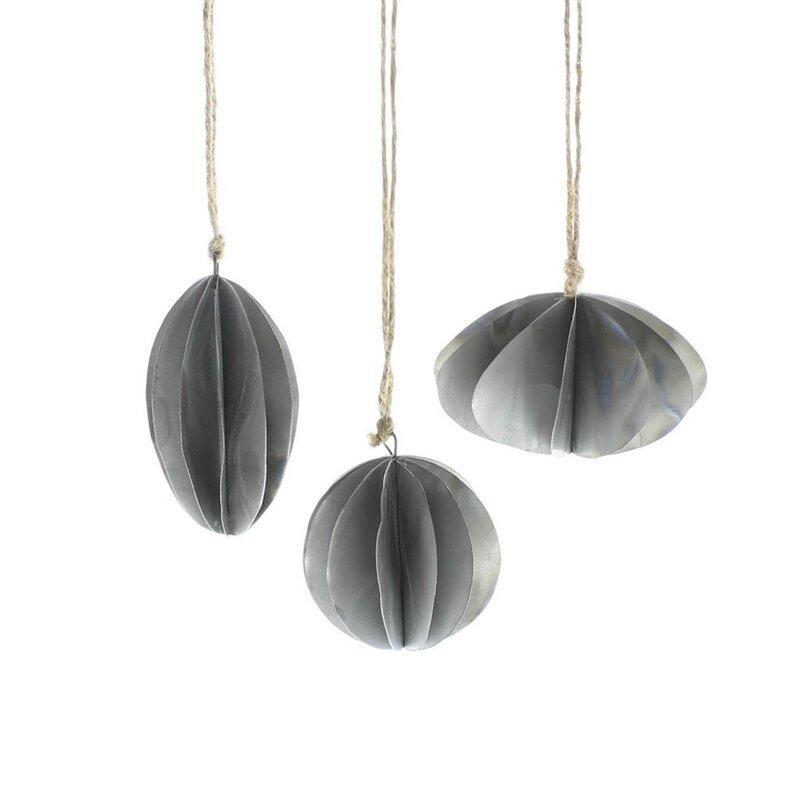 17 Stories 3 Piece Zinc Oval/Round Hanging Figurine Set