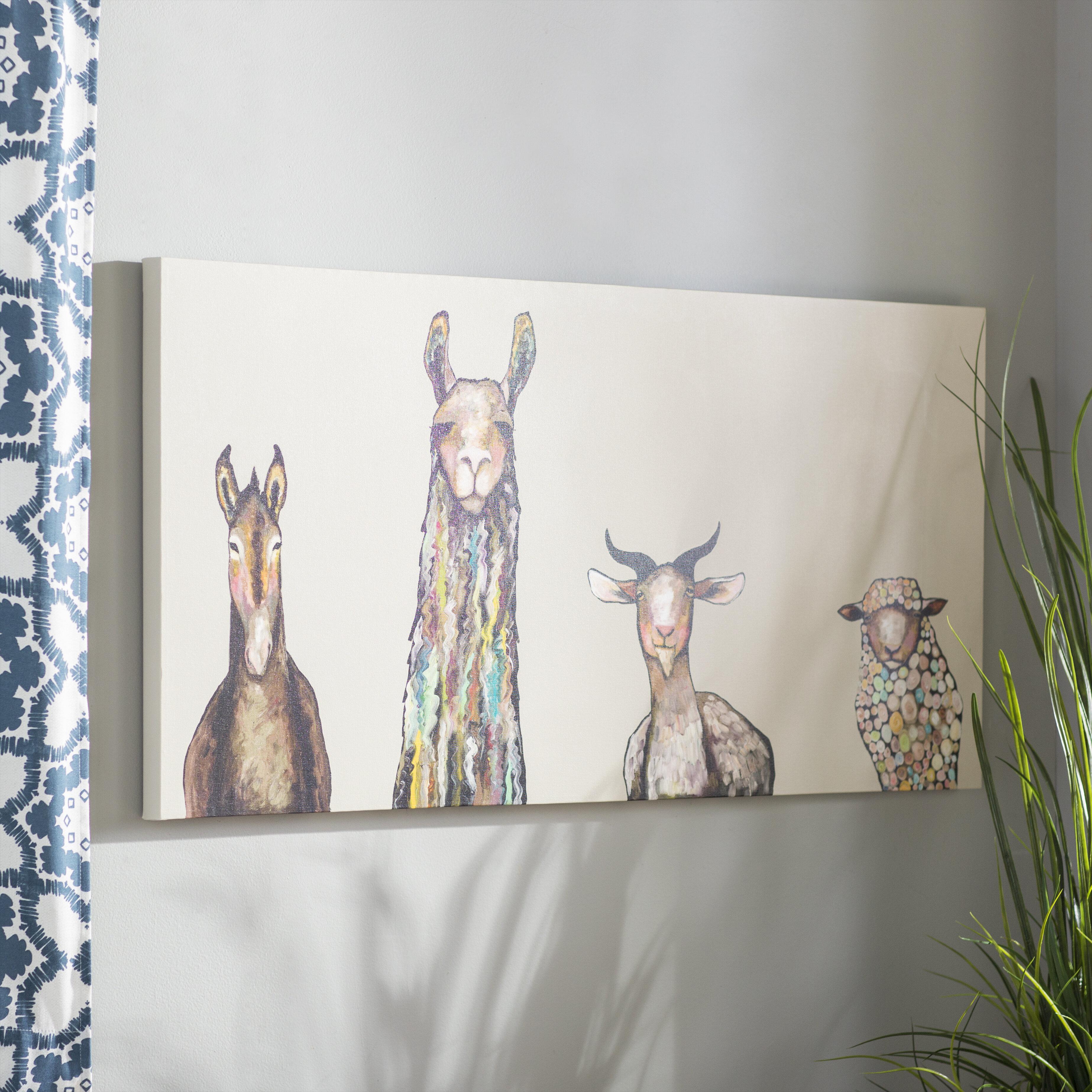 Mercury Row Donkey Llama Goat Sheep Acrylic Painting Print On Canvas In Cream Reviews