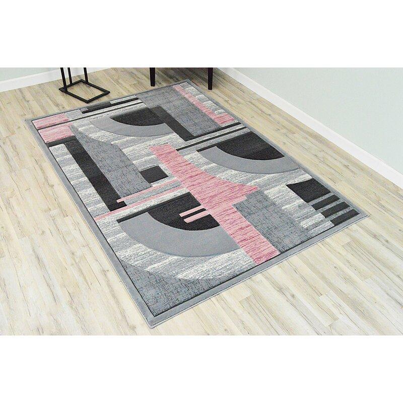 Ivy Bronx Mccampbell Abstract Gray Pink Area Rug Reviews Wayfair
