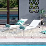 Coline Reclining  Chaise Lounge Outdoor Patio Aluminum Single Chaise (Set of 2)