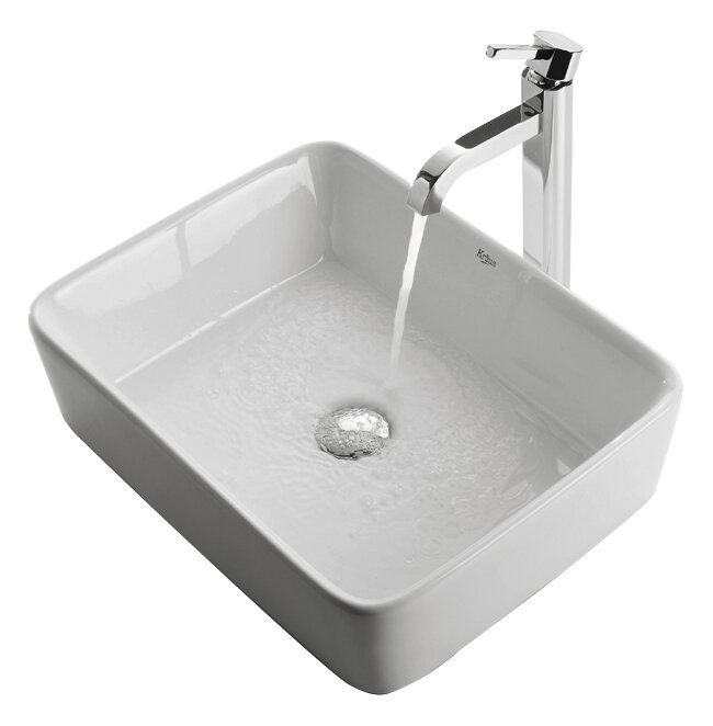 Ceramic Ceramic Rectangular Vessel Bathroom Sink with Faucet #vesselsink
