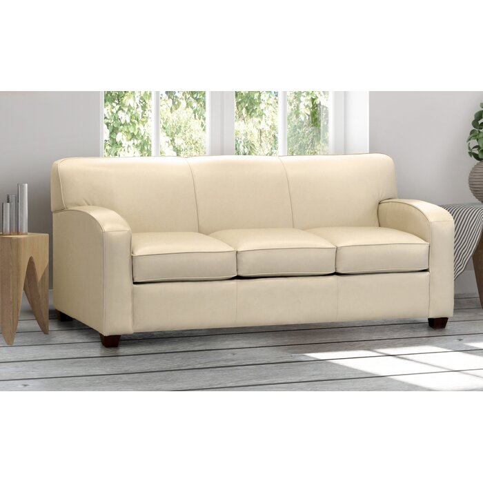 Made In Usa McTurck Cream Top Grain Leather Sofa Bed