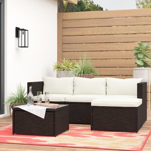 Brennen 5 Piece Rattan Sectional Set with Cushions