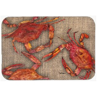 Cooked Crabs on Faux Burlap Kitchen/Bath Mat