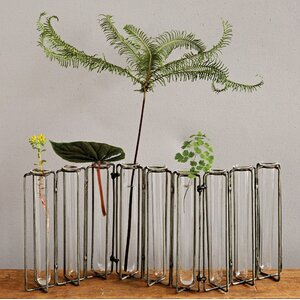 Botanist Metal and 9 Glass Test Tubes Jointed Vase