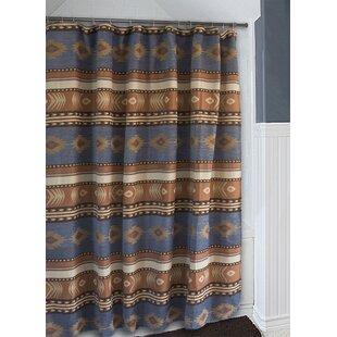 Branford Denim Blue and Brown Southwest Western Shower Curtain by Loon Peak