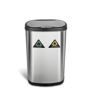 Nine Stars 13.2 Gallon Motion Sensor Multi-Compartments Trash & Recycling Bin