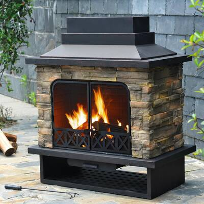 Cal Flame Cultured Stone Propane Natural Gas Outdoor Fireplace