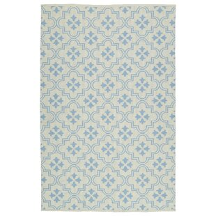 Dominic Cream/Light Blue Indoor/Outdoor Area Rug By Ebern Designs