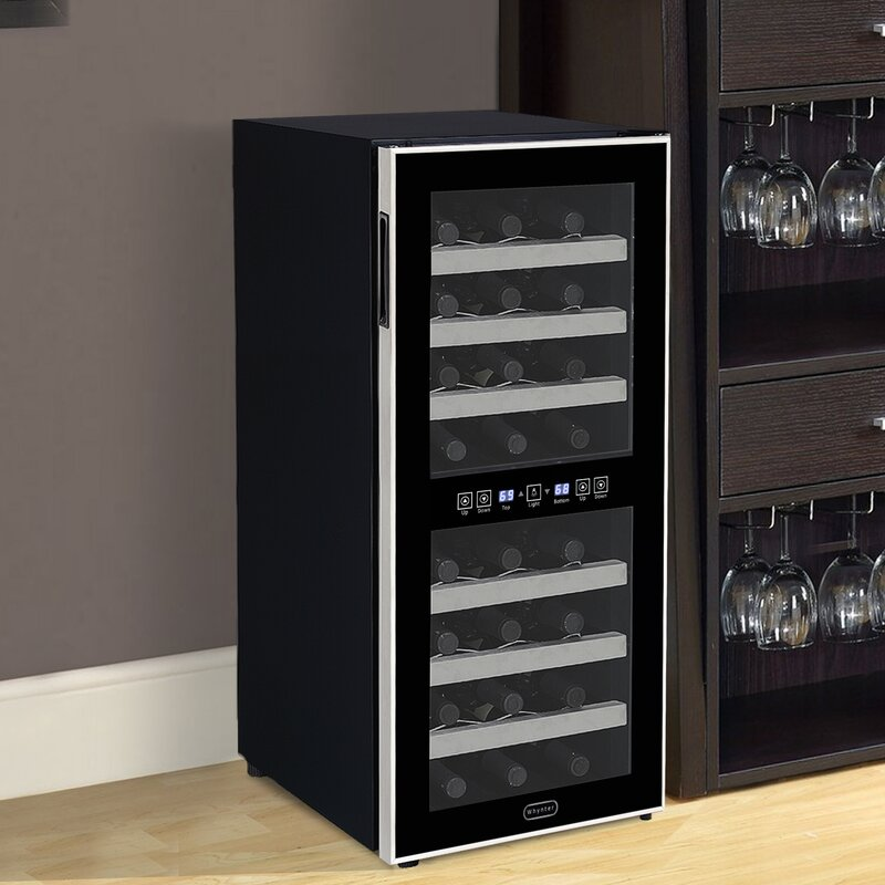 24 Bottle Dual Zone Freestanding Wine Cooler Reviews Allmodern