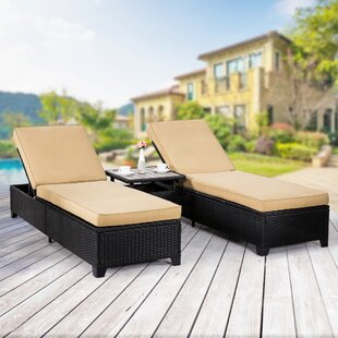 Emilia Reclining Chaise Lounge Set with Cushion and Table (Set of 3)