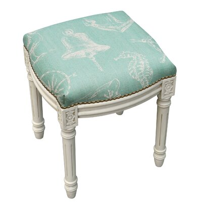 123 Creations Nautical Linen Upholstered Vanity Stool with Nailhead Color Aqua