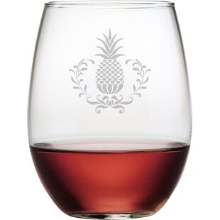 Pineapple Wreath 21 oz. Stemless Wine Glass (Set of 4)
