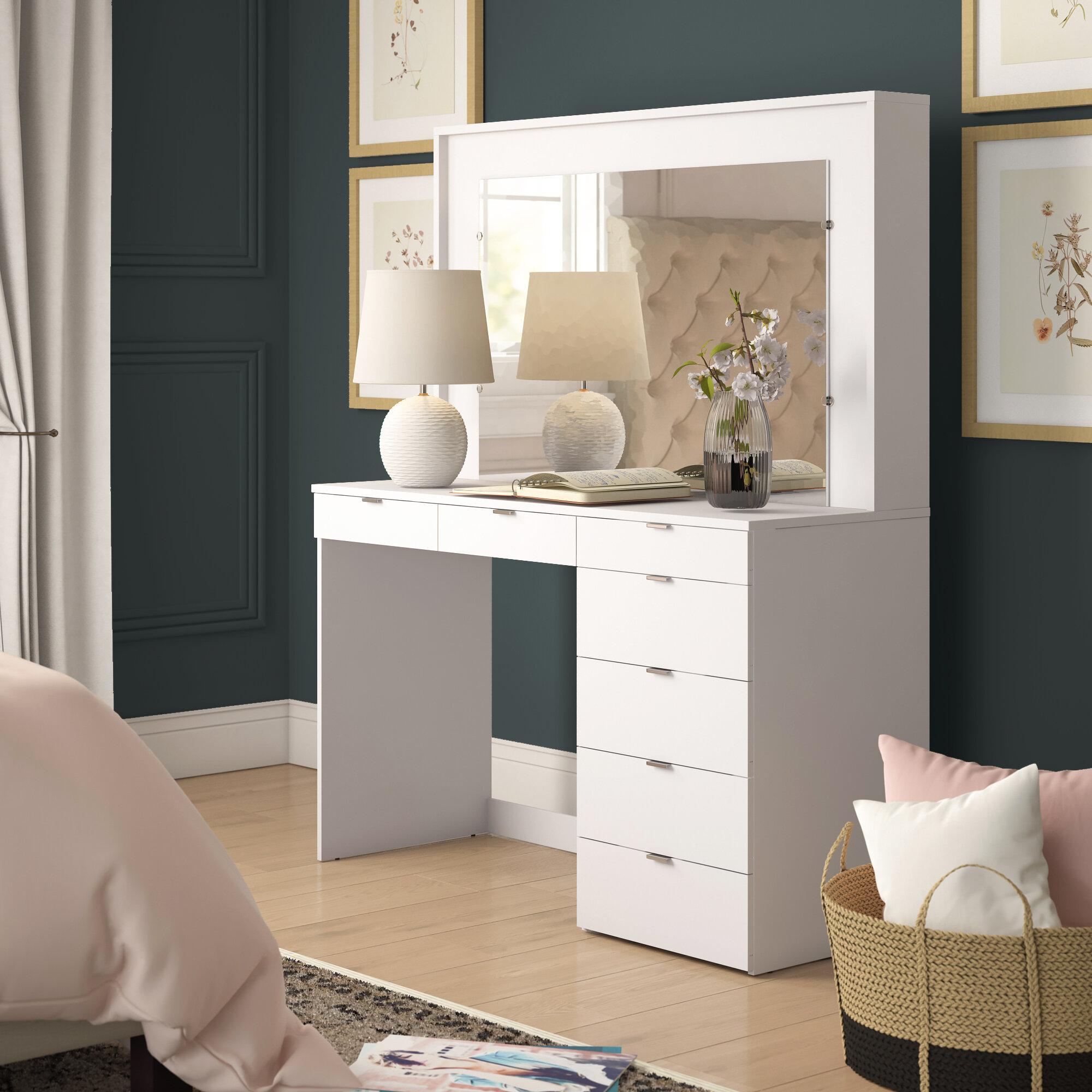 Ebern Designs Spurlin Dressing Vanity With Mirror Reviews Wayfair