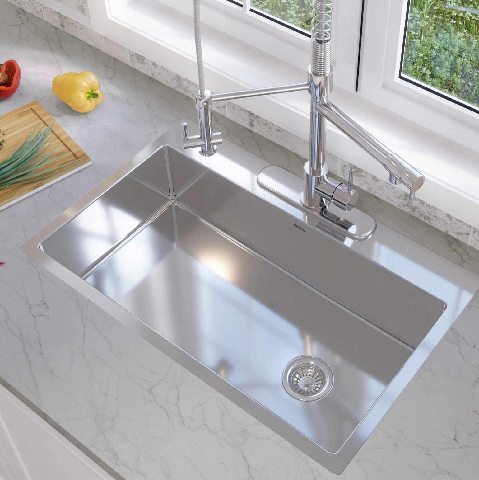 "Ancona Valencia Series 33"" x 22"" Single Bowl Drop in Kitchen Sink"