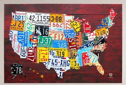 Frame Usa License Plate Map Of The Us Framed Graphic Art Print - Us-map-with-license-plates