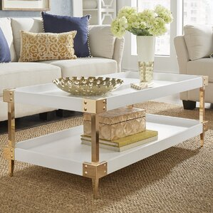 Willa Arlo Interiors Blais Coffee Table With Tray Top Image