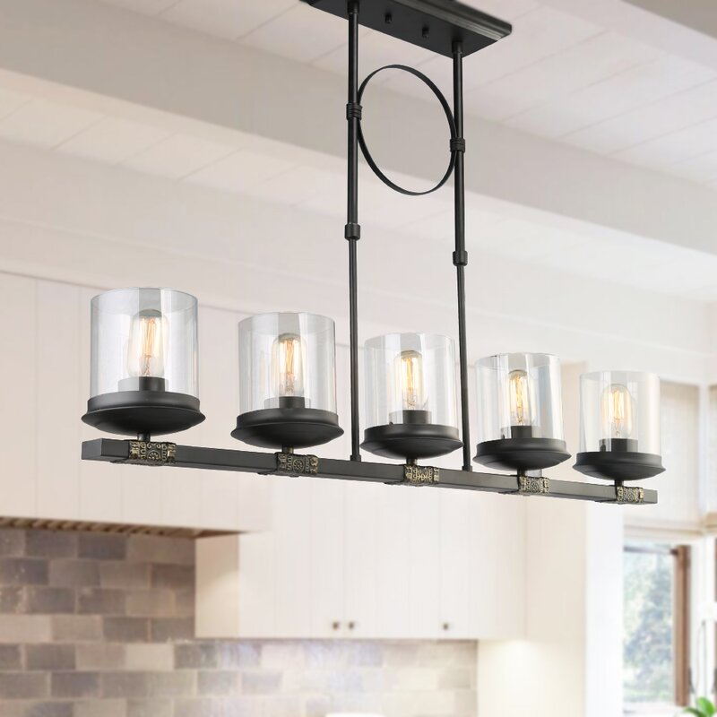 Dennis Retro Kitchen Linear Island Pendant Lighting Clear Gl Shade Black Finish