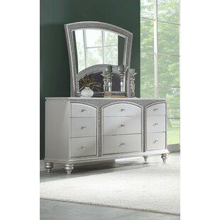 Fuson 9 Drawer Double Dresser with Mirror