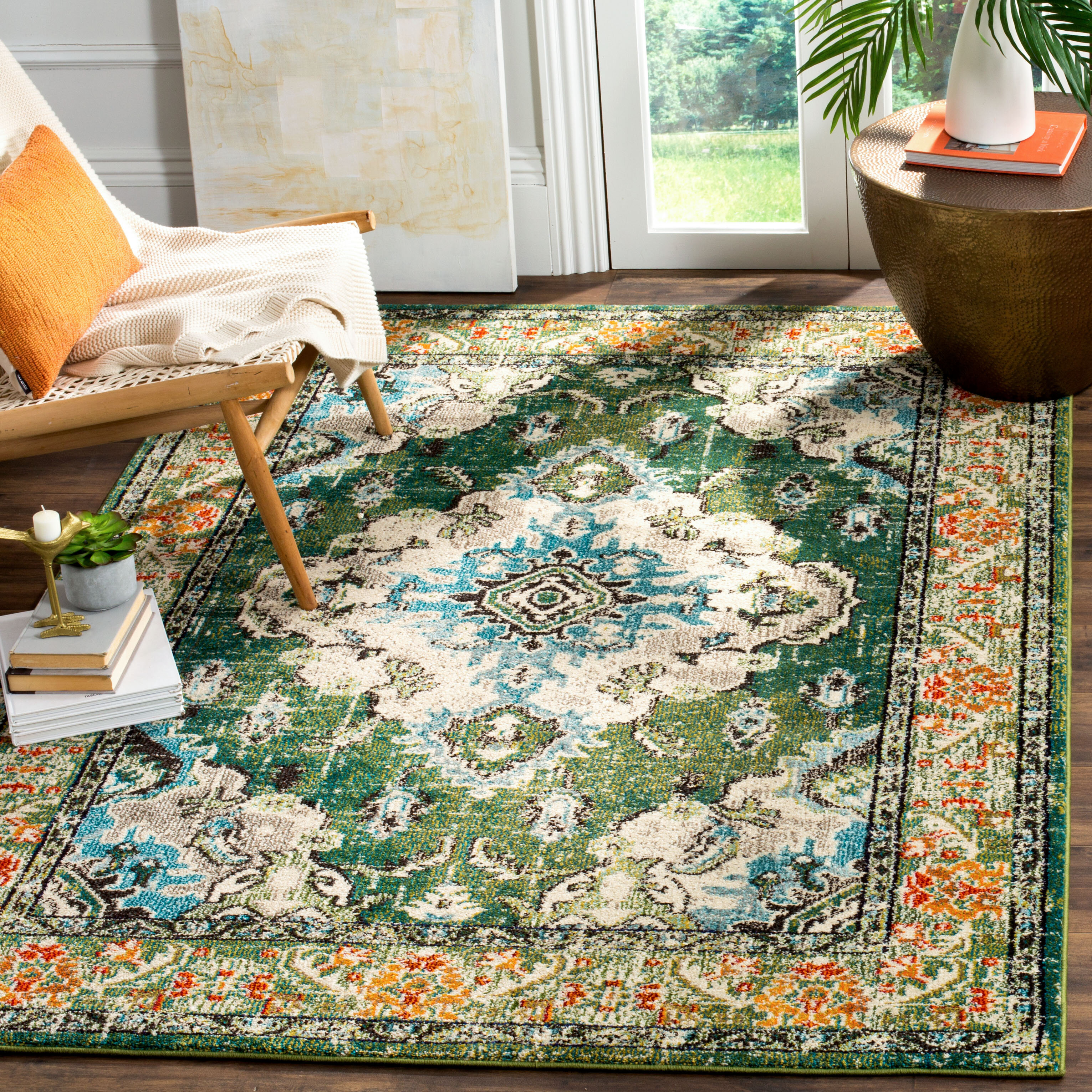 Mistana Indira Oriental Green Light Blue Area Rug Reviews Wayfair