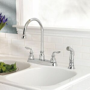 Pfister Avalon Double Handle Deck Mounted Kitchen Faucet with Side Spray