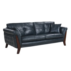 Makeba Mid-Century Modern Real Leather Sofa by Orren Ellis