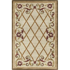 Baker Hand Tufted Wool Cream Olive Green Area Rug