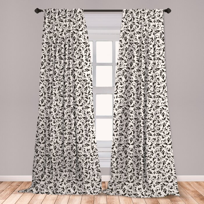 Ambesonne Leaf Curtains, Black And White Pattern With Swirled Skinny  Branches With Leaves Old Fashioned Scroll, Window Treatments 2 Panel Set  For ...