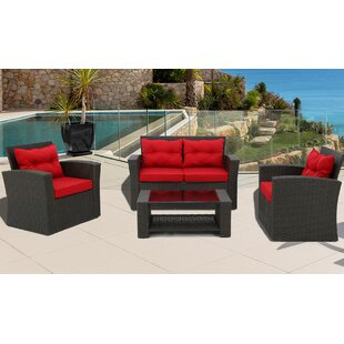 Carlo 4 Piece Rattan Sofa Seating Group with Cushions
