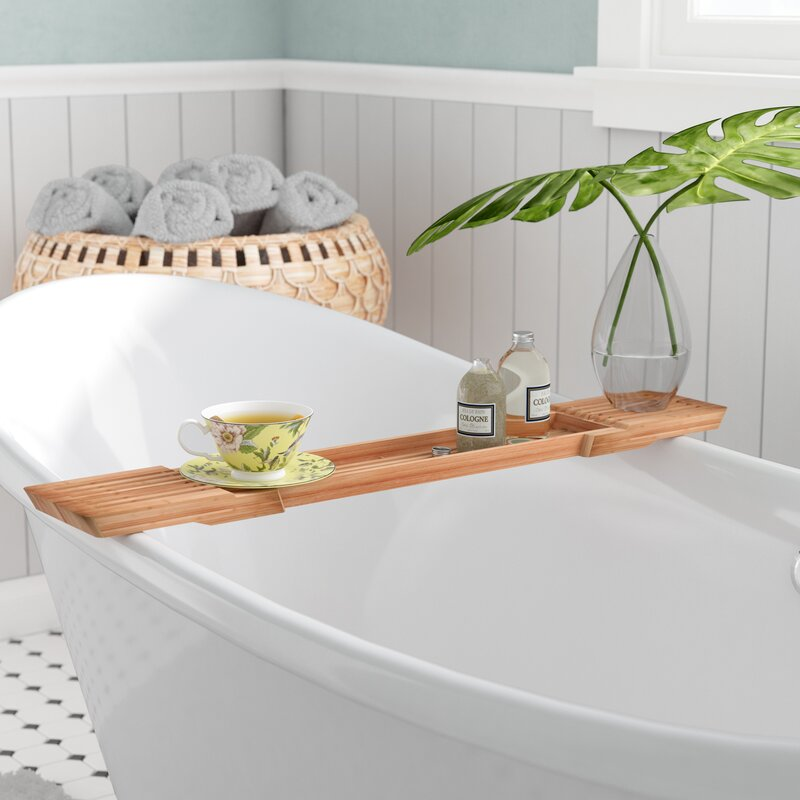 Bayou Breeze Ashworth Adjustable Bamboo Bath Caddy & Reviews | Wayfair