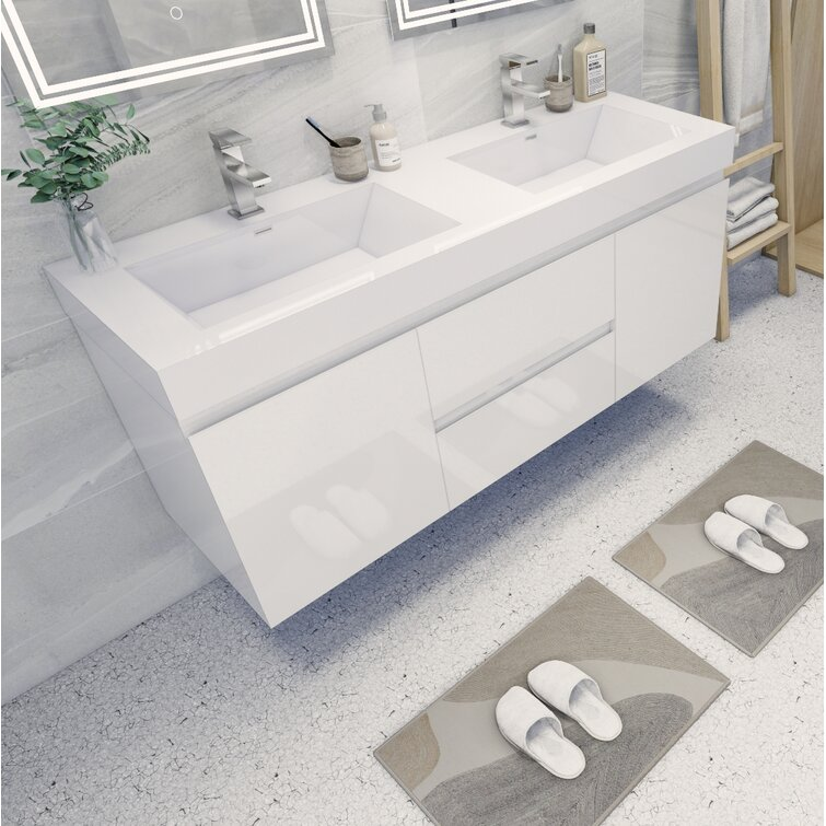 """Hartt 60"""" Wall-Mounted Double Bathroom Vanity Set"""