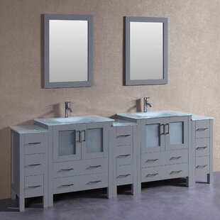 Paige 96 Double Bathroom Vanity Set with Mirror by Bosconi