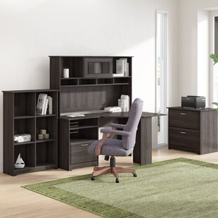 Hillsdale Corner Desk with Hutch, Lateral File and 6 Cube Bookcase