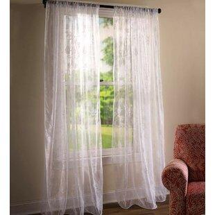 Jacobean Nature / Floral Sheer Rod Pocket Single Curtain Panel