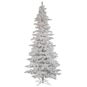 flocked white spruce 10 artificial christmas tree with 650 led white lights with stand - 10 Artificial Christmas Tree