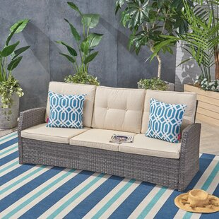 Pascua Patio Sofa with Cushions by Rosecliff Heights