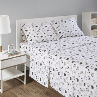 Acer Cozy Soft Cat Print Flannel 100% Cotton Sheet Set