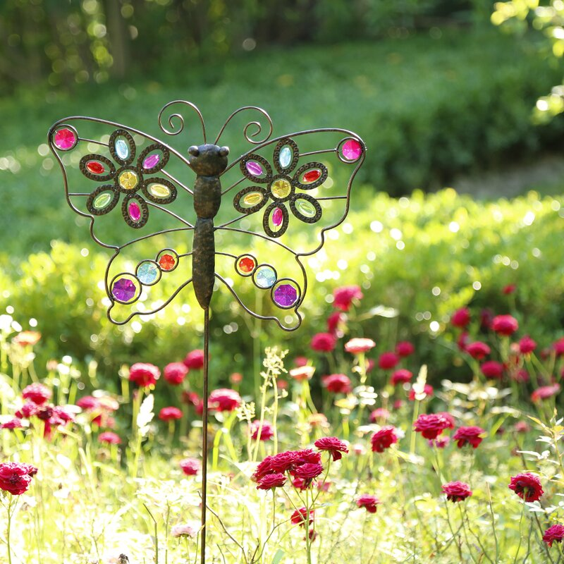 Iron Boho Beaded Butterfly Garden Stake