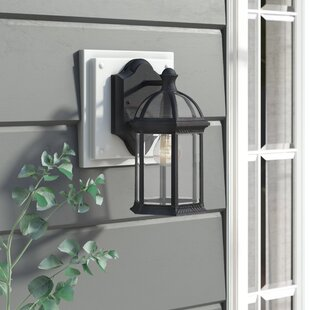 Shop For Hartshorne 1-Light Glass Shade Outdoor Wall lantern By Three Posts