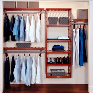 "48""W - 120""W Deep Solid Wood Deluxe Closet System"