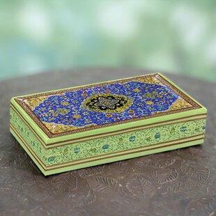 Inexpensive Star of India Handmade Papier Mache Jewelry Box By Novica