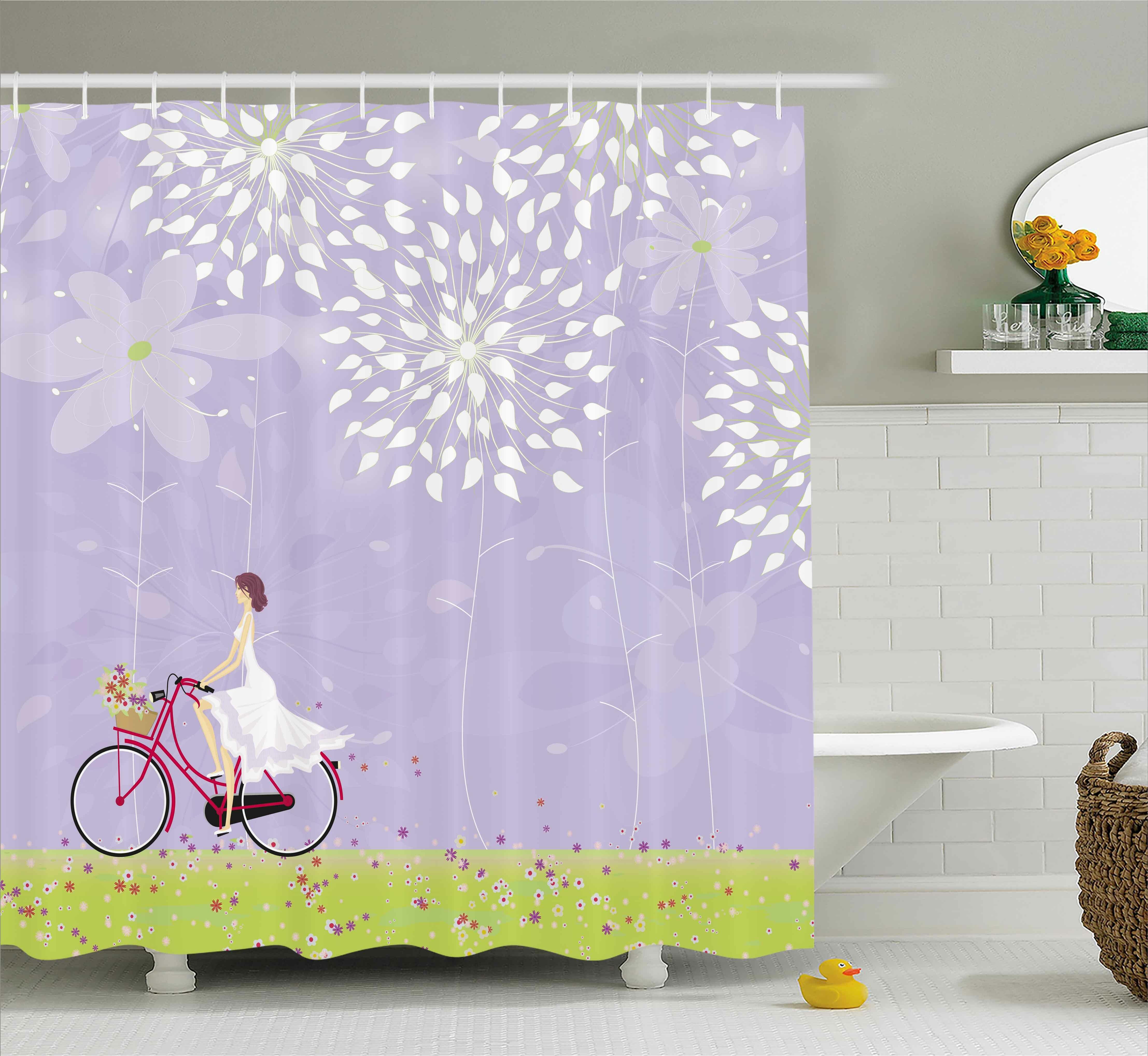 East Urban Home Girl Riding Bike Shower Curtain