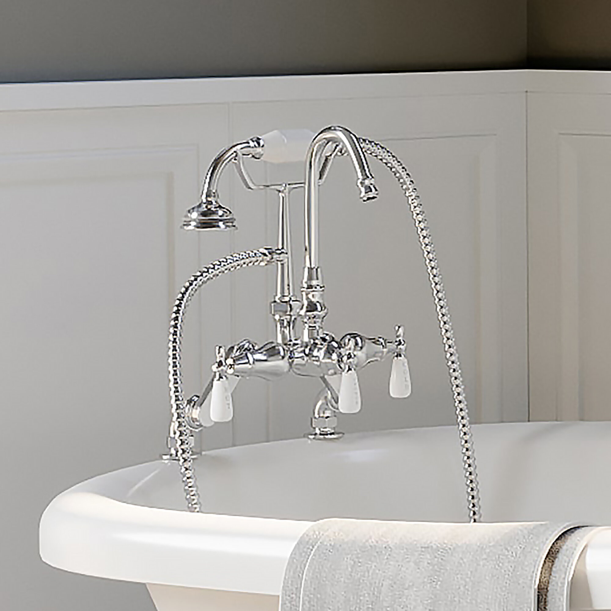 Picture of: Cambridge Plumbing Triple Handle Deck Mounted Clawfoot Tub Faucet With Diverter And Handshower Reviews Wayfair