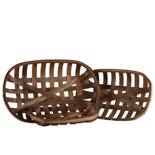 Square Tobacco 3 Piece Wicker Basket Set by World Menagerie