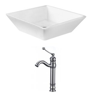 Reviews Ceramic Square Vessel Bathroom Sink with Faucet By Royal Purple Bath Kitchen