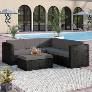 Farrish 4 Piece Rattan Sectional Set with Cushions