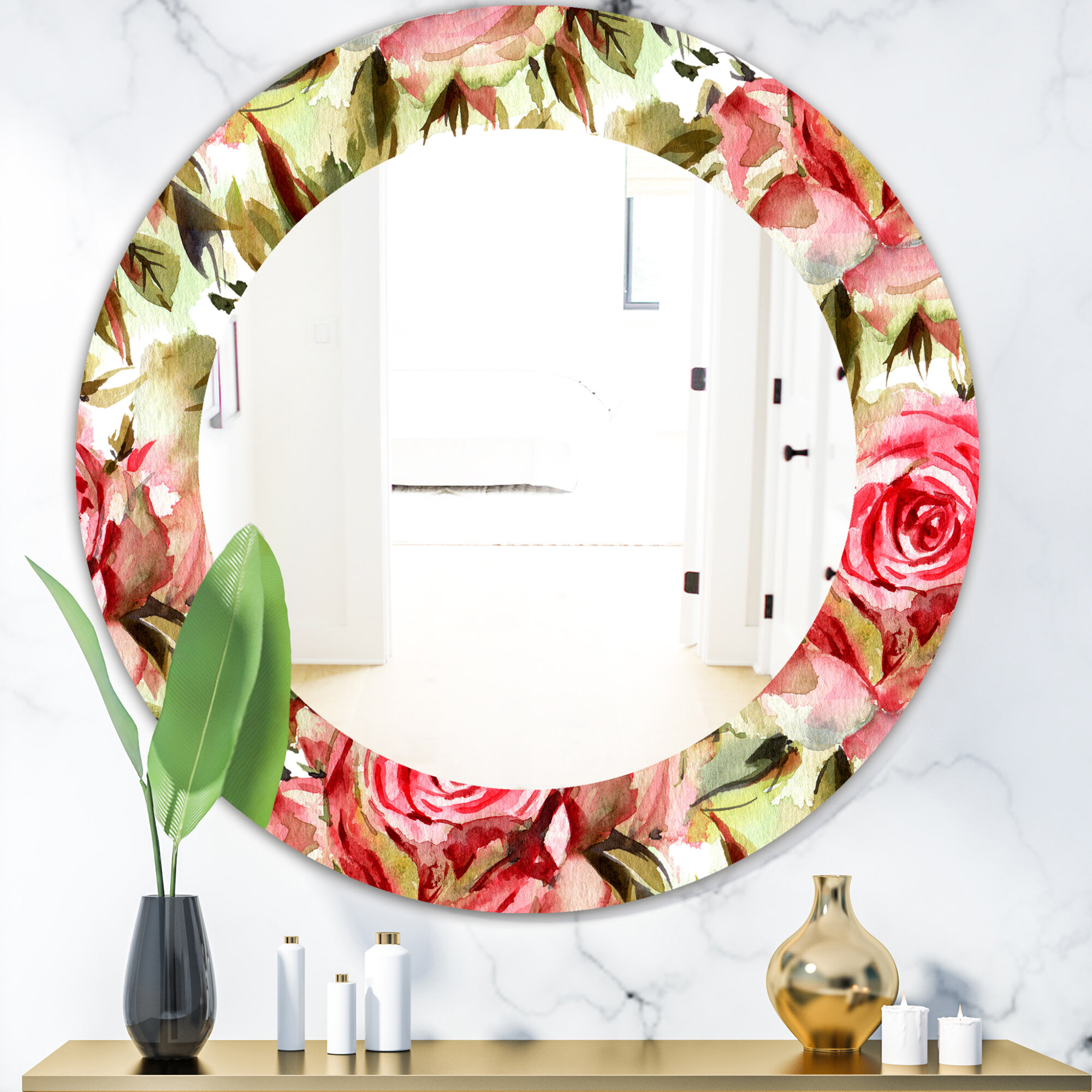 East Urban Home Blossom Traditional Frameless Accent Mirror
