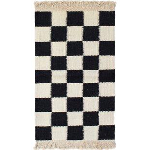 One-of-a-Kind Pinckney Handwoven Flatweave 2'7 x 4'9 Wool White/Black Area Rug Isabelline