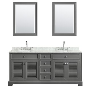 Tamara 72 Double Dark Gray Bathroom Vanity Set with Mirror By Wyndham Collection