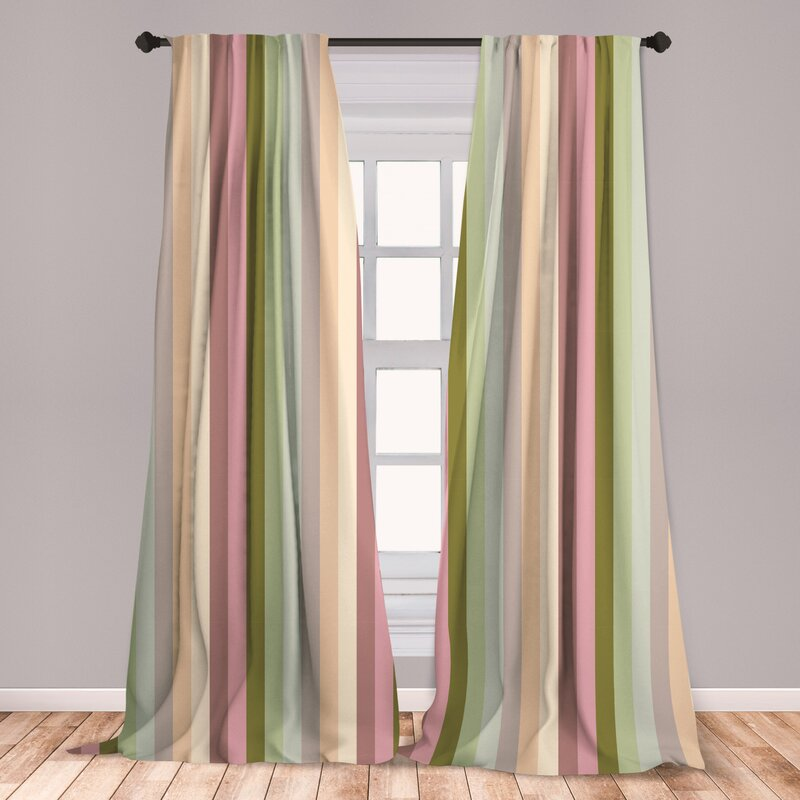 Ambesonne Stripes 2 Panel Curtain Set